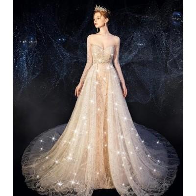 2020新品ロングトレーン ウェディングドレス 高級ウエディングドレス格安.激安お花嫁ドレス結婚式/二次会/パーディ-/花嫁