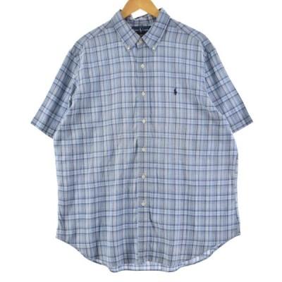 ラルフローレン Ralph Lauren 半袖 ボタンダウンチェックシャツ メンズXL /eaa150927