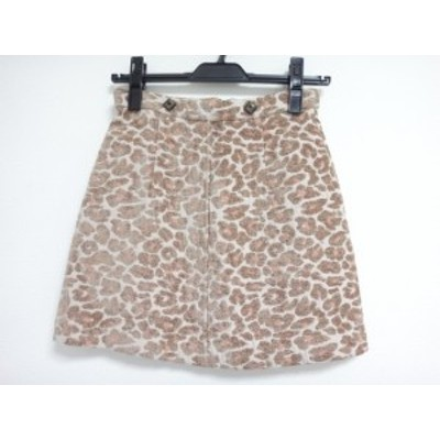 リリーブラウン Lily Brown ミニスカート サイズ0 XS レディース ベージュ×ライトブラウン×ブラウン 豹柄【中古】