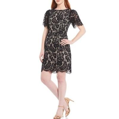 ジェシカハワード レディース ワンピース トップス Petite Size Butterfly Sleeve Lace Sheath Dress