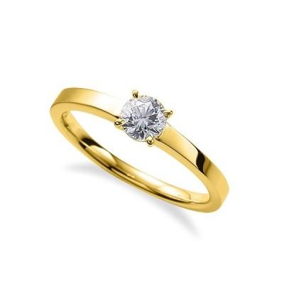 指輪 18金 イエローゴールド 天然石 一粒リング 主石の直径約4.4mm ソリティア 平打ち 四本爪留め K18YG 18k 貴金属 ジュエリー レディース メンズ