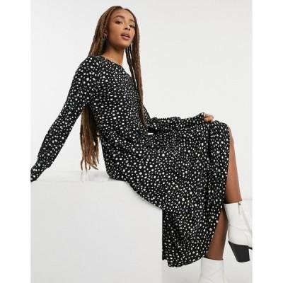 キューイーディーロンドン レディース ワンピース トップス QED London tiered midi dress in polka dot
