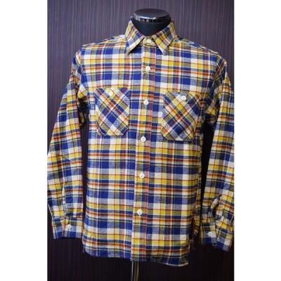 シュガーケーン Sugar Cane SC27391 ツイルチェックワークシャツ ネイビー×イエロー
