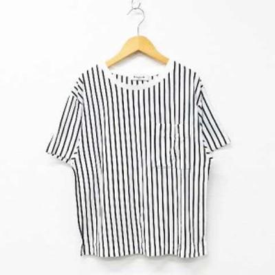 【中古】EMSEXCITE Tシャツ カットソー 半袖 クルーネック ストライプ柄 スリット 綿混 オフホワイト×ブラック M