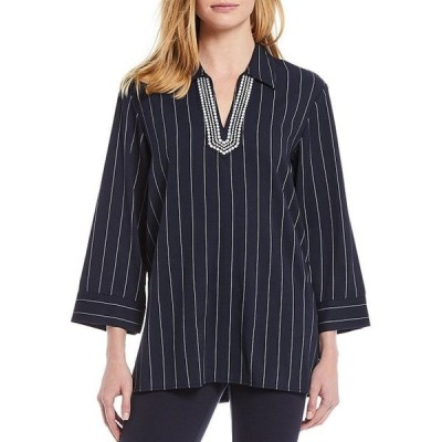 トミー ヒルフィガー レディース カットソー トップス Embroidered Pin Stripe Tunic