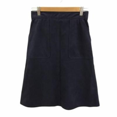 【中古】ロペ ROPE スカート 台形 ひざ丈 スウェード調 38 紺 ネイビー レディース