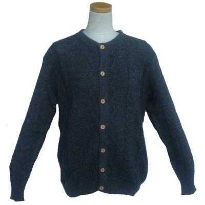 ALCA-053B アルパカ100% カーディガン 濃グレー色 男性 丸首 縄編み柄 暖かい 綺麗