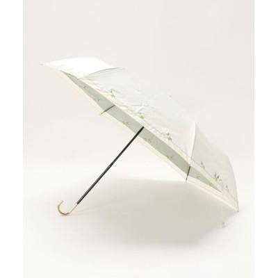 Three Four Time / 遮光レモン刺繍晴雨兼用折傘 WOMEN ファッション雑貨 > 折りたたみ傘