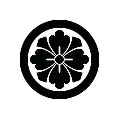 家紋シール 白紋黒地 石持ち地抜き四方剣花菱 布タイプ 直径40mm 6枚セット NS4-2019W