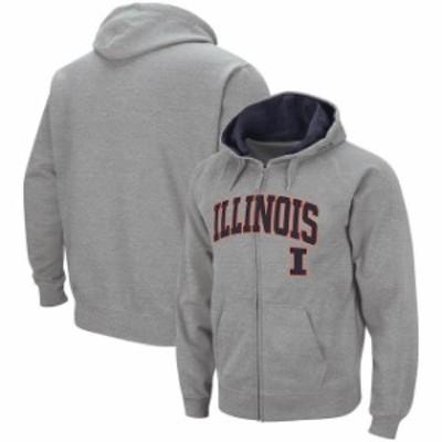 Colosseum コロセウム スポーツ用品  Colosseum Illinois Fighting Illini Heathered Gray Arch & Logo Full-Zip Hoodie