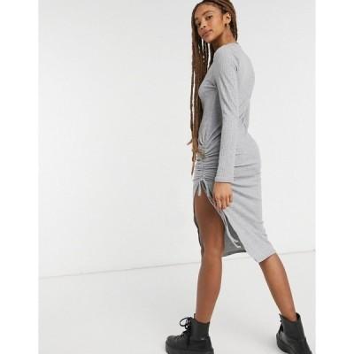 ニュールック レディース ワンピース トップス New Look ruched side slit midi dress in gray Dark gray