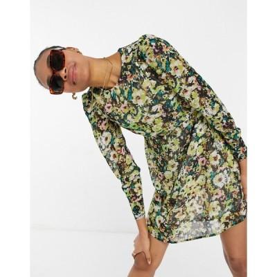 ヴェロモーダ ミニドレス レディース Vero Moda mini skater dress in green floral エイソス ASOS グリーン 緑
