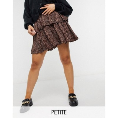ワイ エー エス Y.A.S Petite レディース ミニスカート スカート Mini Skirt With Tiering In Animal Print