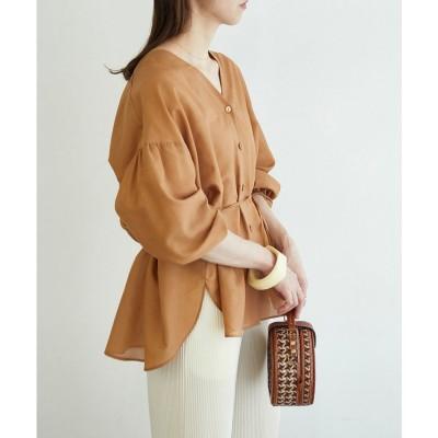 ROPE' mademoiselle ブライトシアーチュニックシャツ(ブラウン系(23))【返品不可商品】