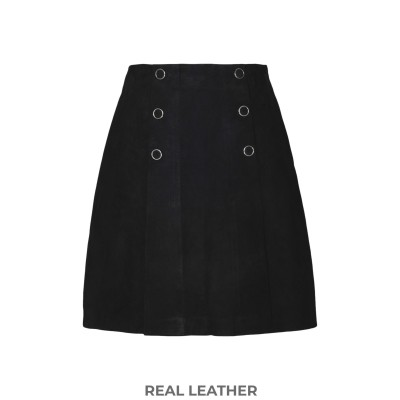 8 by YOOX ミニスカート ブラック XS 羊革(ラムスキン) 100% ミニスカート