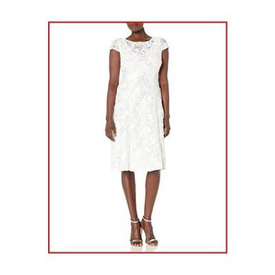 【新品】Alex Evenings Women's Tea Length Dress with Rosette Detail, Ivory/Gold, 10【並行輸入品】