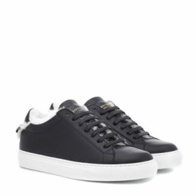 ジバンシー スニーカー Urban Street leather and fur sneakers Black/White