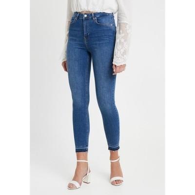 エヌ エー ケイ ディ デニムパンツ レディース ボトムス HIGH WAIST OPEN HEM - Jeans Skinny Fit - mid blue