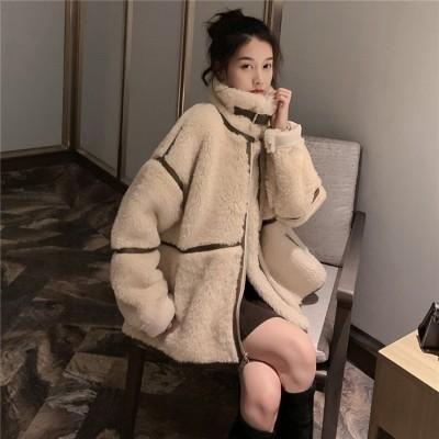 雑志で绍介されました★2019 秋冬 新品 韓国ファッション 子羊の毛 ゆったりする 暖かいジャケット もこもこ 中綿コート ムートンコート