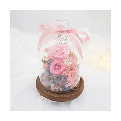 プリザーブドフラワー プレゼント ボックス ガラスポット ピンク 薔薇 花 結婚記念日 妻 バラ ぶりざーどフラワー ボックス 枯れない花