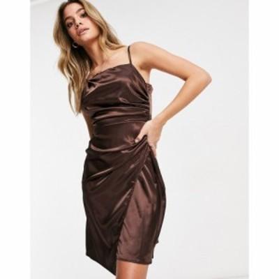 ジェイデッドローズ Jaded Rose レディース ワンピース ラップドレス ワンピース・ドレス Asymmetric Satin Wrap Midaxi Dress In Chocol