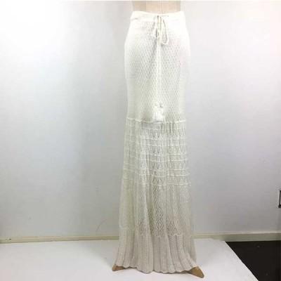 [CHARLOTTE RONSON] ロングスカート ニット レース編み ホワイト レディース Sサイズ