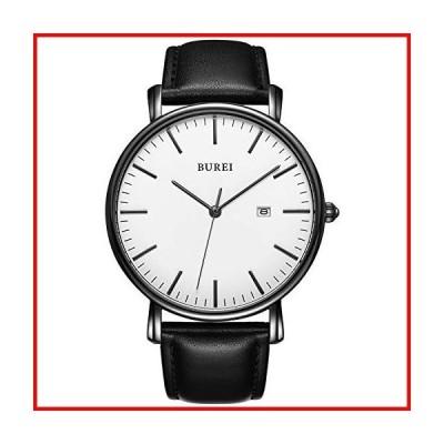 BUREIメンズ超薄型腕時計ファッショナブル石英防水ウォッチ通勤子牛ベルトブラックホワイト時計