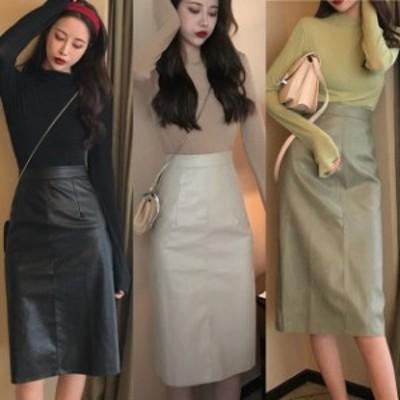 春 エコレザースカート 韓国 ファッション レディース 春服 フェクレザー ミモレスカート PUレザー ハイウエスト スカート ひざ下丈 黒