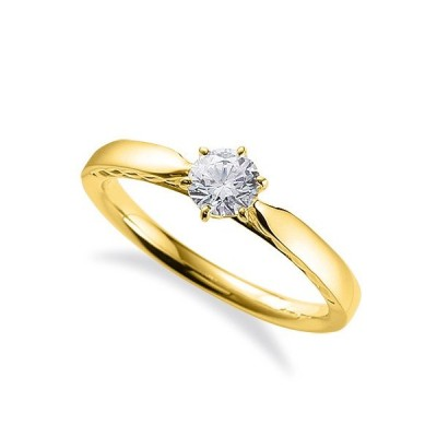 指輪 18金 イエローゴールド 天然石 側面透かし一粒リング 主石の直径約4.4mm ソリティア 平打ち 六本爪留め|K18YG 18k 貴金属 ジュエリー レディース メンズ