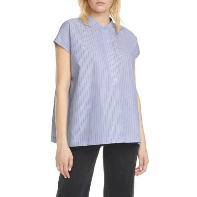 サムソ アンド サムソ レディース シャツ トップス Laury Pinstripe Short Sleeve Organic Cotton Shirt BLUE STRIPE