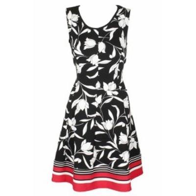 ファッション ドレス Signature Black White Sleeveless Textured Floral Print A-Line Dress PM