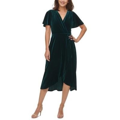 ヴィンスカムート ワンピース トップス レディース Velvet Flutter-Sleeve Wrap Dress Hunter