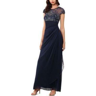 エックススケープ XSCAPE レディース パーティードレス ワンピース・ドレス Beaded-Top Gown Navy Blue
