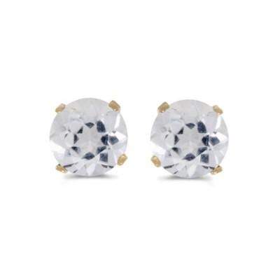 5 mm ナチュラル ラウンド ホワイト Topaz スタッド Earrings セット in 14k イエロー ゴールド(海外取寄せ品)