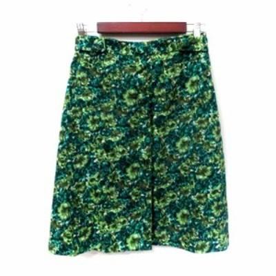 【中古】ティアラ Tiara 台形スカート ミモレ ロング 花柄 麻混 リネン混 3 緑 グリーン /YI レディース