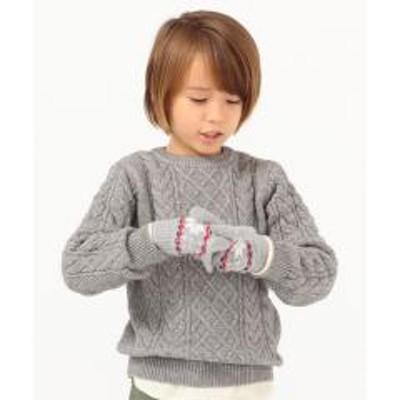 シップスSHIPS KIDS:【洗えるニット】アラン シルキーニット(100~130cm)【お取り寄せ商品】