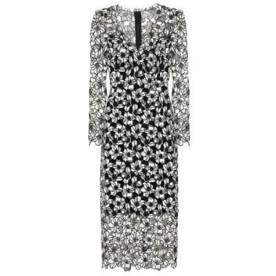 モニーク ルイリエ Monique Lhuillier レディース ワンピース ミドル丈 ワンピース・ドレス Floral lace midi sheath dress Noir/Silk White
