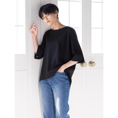 ラ エフ la f 【大人のための上質Tシャツコレクション】ボートネックカットソー (ブラック)