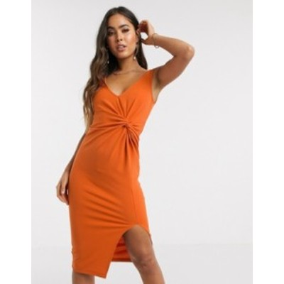エイソス レディース ワンピース トップス ASOS DESIGN sleeveless twist detail midi dress in scuba crepe Dark orange