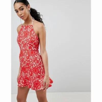 ミスガイデッド ワンピース Lace Frill Hem Dress Red