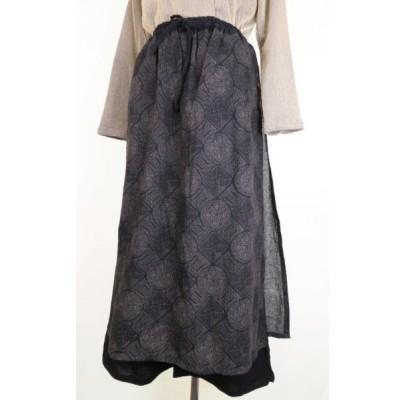 タイ製コットン 和風柄タイ式スカートパンツ(C) ミセス/和柄/コットン/ゆったり/母の日/敬老の日
