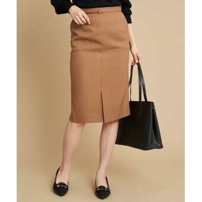OFUON/オフオン 【洗濯機で洗える】ベルト付きナロースカート キャメル 36