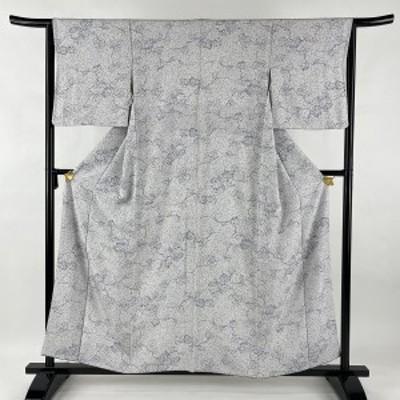 小紋 美品 秀品 やまと 葡萄 縮緬 白 袷 身丈158cm 裄丈64cm M 正絹 中古