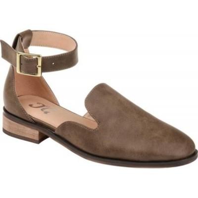 ジュルネ コレクション Journee Collection レディース スリッポン・フラット アンクルストラップ シューズ・靴 Loreta Ankle Strap Flat Brown Faux Leather