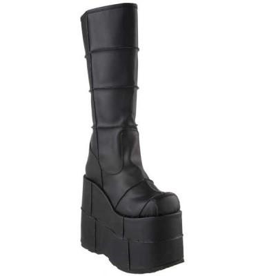 """ブーツ シューズ 靴 デモニア DEMONIA STACK-301 メンズ 7"""" Platform Goth Cyber GOGO Punk Patched ニーハイ ブーツ Blk Pu"""