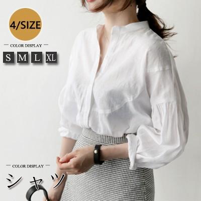 《限定数量》 春秋新作/ Tシャツツ ブラウス 長袖 シフォン レディース ホワイト 大きいサイズ 韓国ファッション ビジネス カジュアル