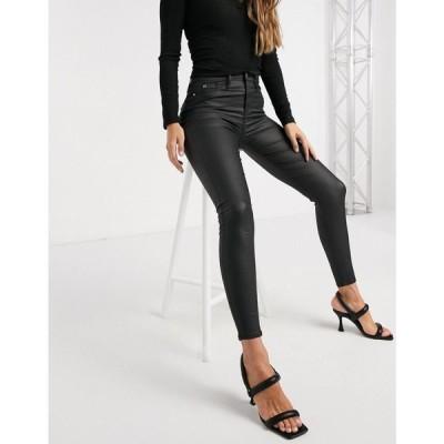 リバーアイランド River Island レディース ジーンズ・デニム ボトムス・パンツ Molly waxed coated skinny jeans in black ブラック