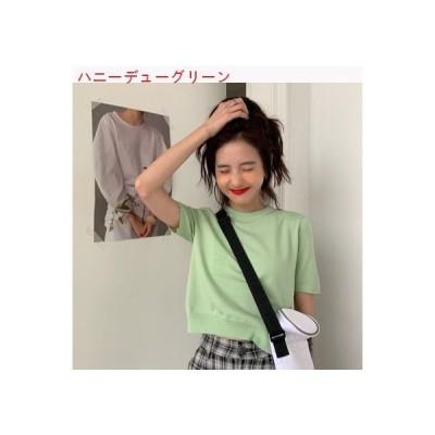 【送料無料】夏服 女 丸襟 半袖ニット カーディガントップ 韓国風 着やせ 着やせ | 346770_A62572-2773068