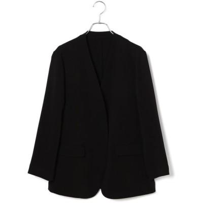 ROPE'/ロペ バックサテンノーカラージャケット ブラック(01) 38