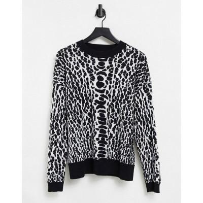 リクオリッシュ レディース ニット・セーター アウター Liquorish sweater in monochrome animal print